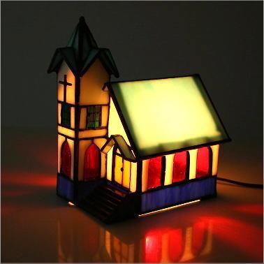 ステンドグラス 照明 アンティーク調 かわいい 照明 インテリアランプ ハウスステンドグラスランプ B【送料無料】