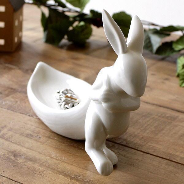 アクセサリートレイ うさぎ 陶器 白 ホワイト かわいい 可愛い 鍵置き キートレイ 卓上 小物入れ トレー 陶器のラビットトレイ [dcr1465]