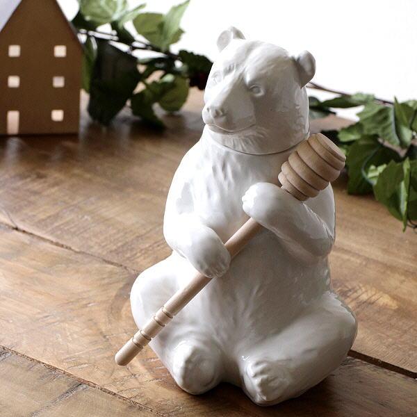 クマ 熊 置物 オブジェ 陶器 白 ホワイト 小物入れ インテリア 雑貨 ハニーベアーの置物 [dcr2117]