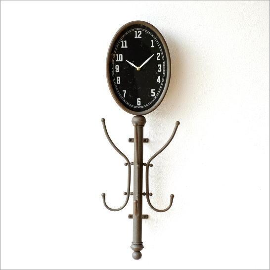 コートハンガー 壁掛け コートフック 時計付き コート掛け 壁付け アンティーク クラシック コートフック付クロック【送料無料】
