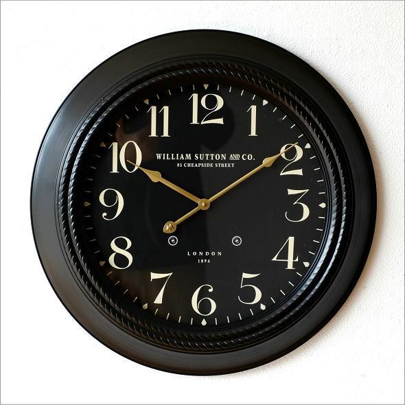 掛け時計 LONDON 1894 黒 おしゃれ モダン ウォールクロック ブラックスチールの掛時計