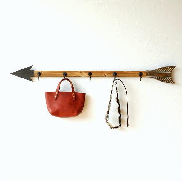 壁掛けフック ロング ウォールフック 5連 ブリキ 木製 玄関 デザイン おしゃれ 帽子掛け キーフック 矢の壁掛ロングフック