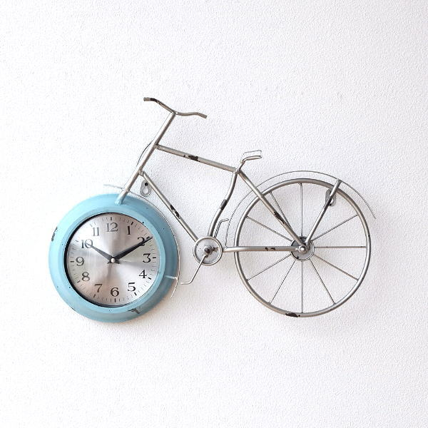 掛け時計 アンティーク レトロ おしゃれ かわいい ビンテージ アナログ 自転車ウォールクロック [dcr3660]