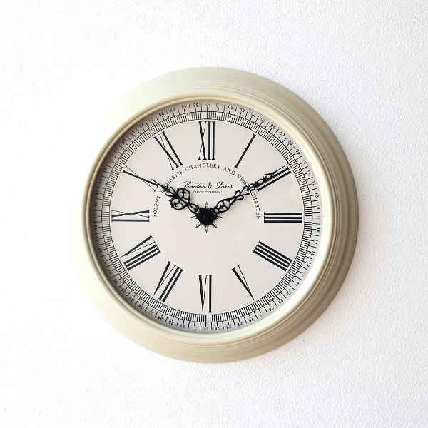 ホワイトスチールの掛け時計 [dcr3927]
