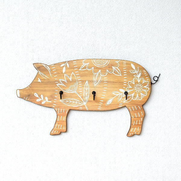 フック 壁 おしゃれ 壁掛けフック ウォールフック かわいい 可愛い ナチュラル 木製 ウッド ブタ 玄関 リビング 引っ掛け ハンガー ピッグウォールフック [dcr4598]