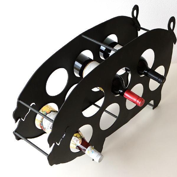ワインホルダー おしゃれ ワインラック アイアン 7本 収納 アンティーク ブタ デザイン メタルピッグワインホルダー 【送料無料】 [dcr4625]