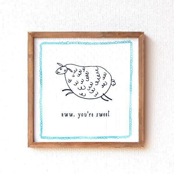 アートパネル キャンバス ウォールアート 壁掛け インテリア かわいい ひつじ アートフレーム 壁飾り 額絵 ボード 30×30cm キャンバスウォールアートA [dcr4626]