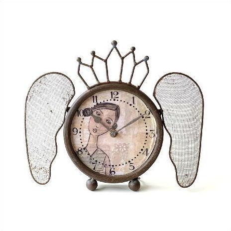 レトロなウィング付き置き時計