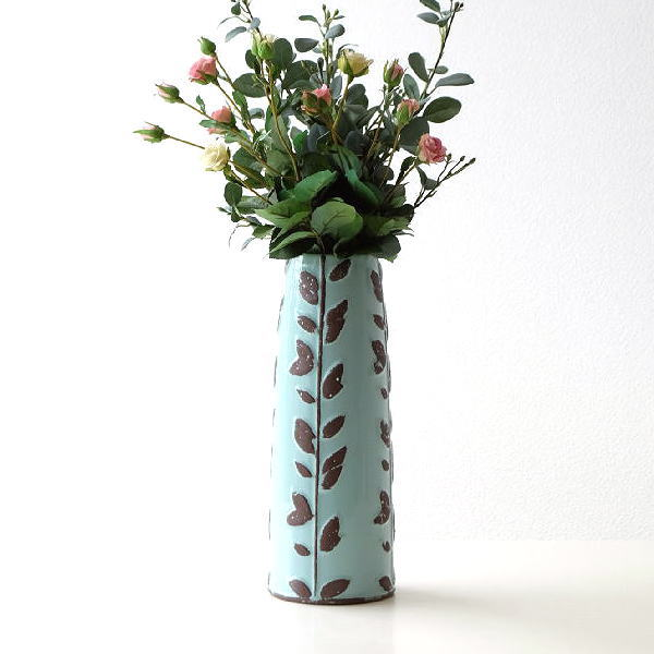 花瓶 陶器 フラワーベース 花器 おしゃれ ロング 枝もの 陶器のロングベース [dcr5806]