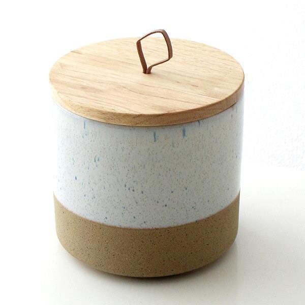 保存容器 陶器 ストッカー キャニスター おしゃれ ナチュラル 瓶 ケース 木製 ふた付き 小物入れ 木の蓋付ストーンジャーM [dcr5985]