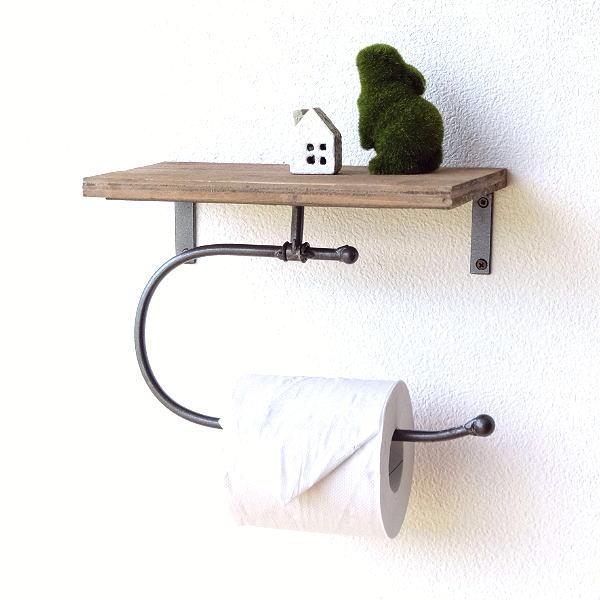 トイレットペーパーホルダー おしゃれ アイアン 木製 棚付き シングル レトロ アンティーク シャビー アイアンとウッドのペーパーホルダー [dcr6518]