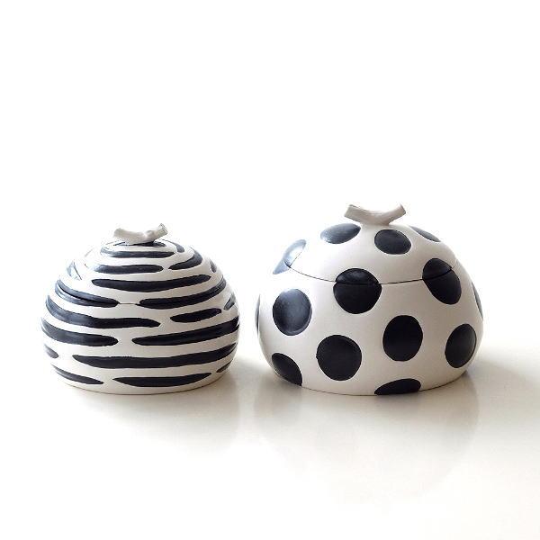 小物入れ ふた付き ボックス 陶器 おしゃれ アフリカン デザイン 雑貨 白黒 モノトーン 陶器のフタ付ボックス大小2個セット [dcr6899]
