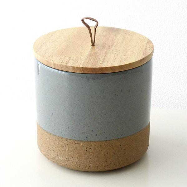 保存容器 陶器 ストッカー キャニスター おしゃれ ナチュラル 瓶 ケース 木製 ふた付き 小物入れ 木の蓋付ストーンジャーL [dcr7047]