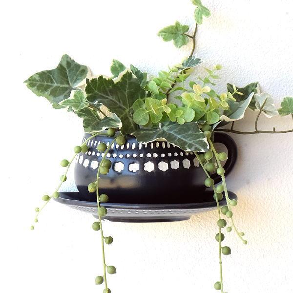 プランター 壁掛け おしゃれ 陶器 ティーカップ デザイン ユニーク かわいい 花鉢 フラワーポット 陶器のカップ型壁掛プランター [dcr7885]