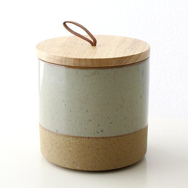 保存容器 陶器 ストッカー キャニスター おしゃれ ナチュラル 瓶 ケース 木製 ふた付き 小物入れ 木の蓋付ストーンジャーS [dcr8028]