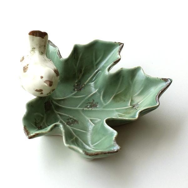 トレイ 鳥 陶器 おしゃれ 小物入れ 鍵入れ キートレイ プレート アクセサリートレイ 陶器のバードリーフトレイ [dcr8039]