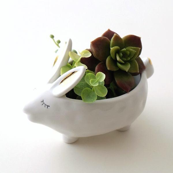 小物入れ 陶器 うさぎ 白 かわいい アクセサリー トレイ 収納 おしゃれ かわいい 卓上 雑貨 陶器のラビット小物入れ [dcr8203]