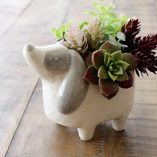 フラワーポット 鉢カバー 陶器 犬 イヌ かわいい 置物 オブジェ インテリア プレゼント 陶器のポット ドッグ [dcr9751]