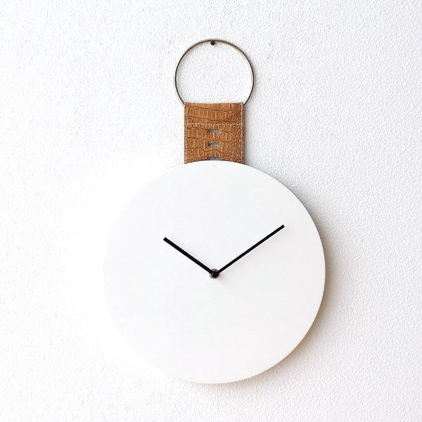 ベルト付きホワイトウッドの掛け時計 [dcr9958]