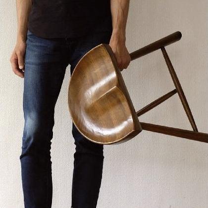 スツール おしゃれ 木製 椅子 玄関 ウッドチェア 無垢材 オーク鞍型スツール45 【送料無料】 [diz2936]