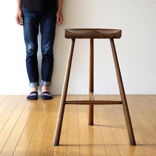 ハイスツール 木製 おしゃれ 椅子 カウンターチェア カウンタースツール オーク鞍型スツール70【送料無料】
