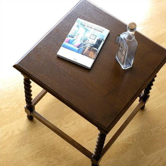 サイドテーブル おしゃれ 木製 ベッドサイドテーブル ソファサイドテーブル コーナーテーブル 花台 アンティーク クラシック オークフリーサイドテーブル 【送料無料】 [diz4131]