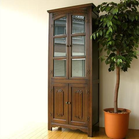 食器棚 木製 ナラ材 ガラスキャビネット カップボード オーク飾り棚【開梱設置送料無料】