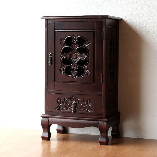 アンティーク 家具 キャビネット リビングボード サイドボード 棚 電話台 完成品 アンティークなキャビネット 【送料無料】 [diz6535]