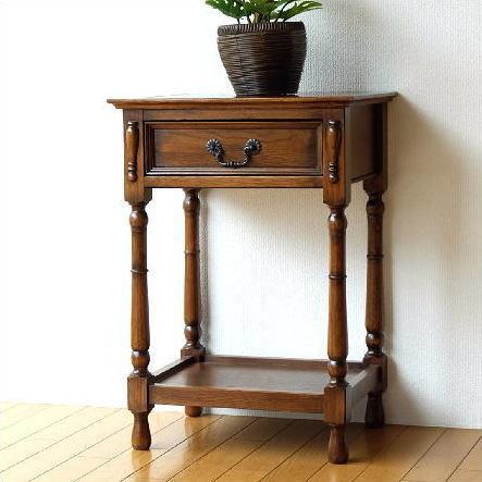 電話台 おしゃれ コンソール サイドテーブル 引き出し 木製 花台 オークスタンドキャビネット【送料無料】