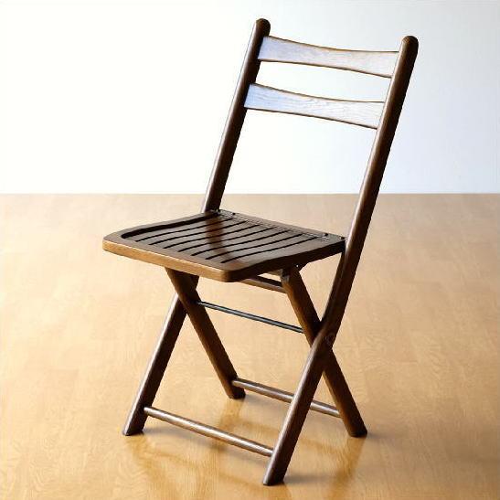 折りたたみ椅子 木製 無垢 オークフォールディングチェアー 【送料無料】 [diz7462]