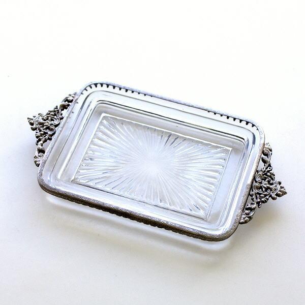 トレイ おしゃれ ガラス トレー かわいい アンティーク 真鍮 雑貨 小物入れ レトロ アクセサリートレイ 真鍮とガラスのトレー SV [ebn0009]