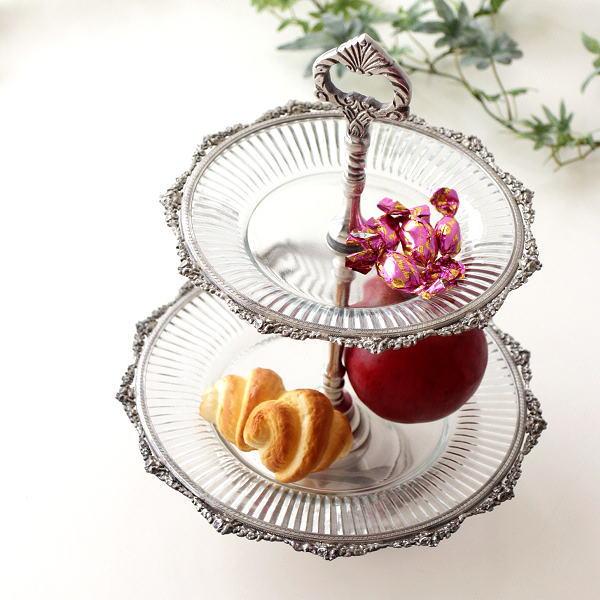 トレー ガラスプレート ケーキスタンド おしゃれ かわいい アンティーク 2段 ガラス お皿 プレート スイーツプレート ガラスとブラスの2段トレー [ebn0269]