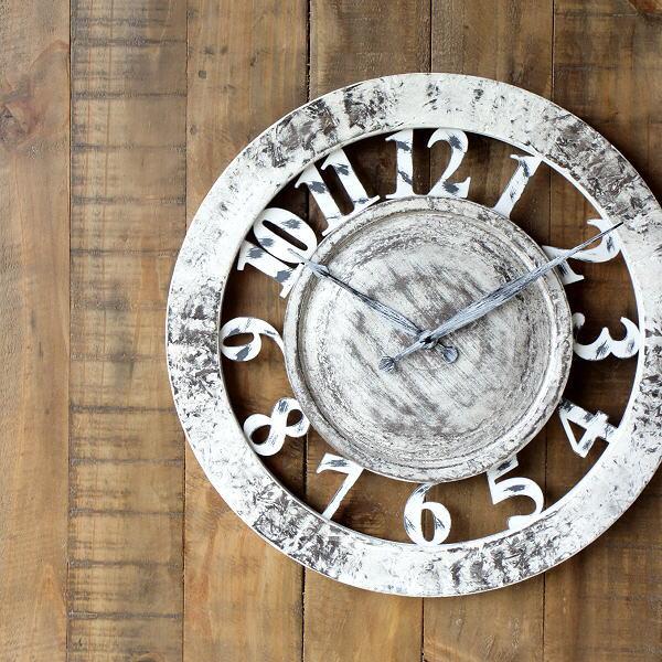 掛け時計 壁掛け時計 アンティーク 木製 おしゃれ シャビー レトロ ヴィンテージ アナログ ウォールクロック シャビーホワイト 【送料無料】 [ebn0671]