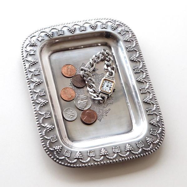 トレー おしゃれ 真鍮 アンティーク シルバー アクセサリートレイ コイントレー 卓上 プレート 皿 インテリア ブラストレーSV A [ebn0820]
