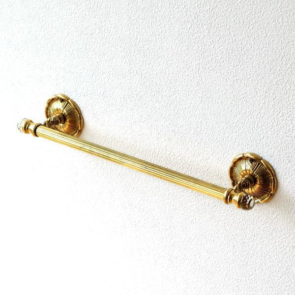 タオルハンガー タオル掛け 真鍮 おしゃれ アンティーク トイレ 洗面所 タオルバー ゴールド エレガント クラシック 真鍮のタオルハンガー [ebn0949]