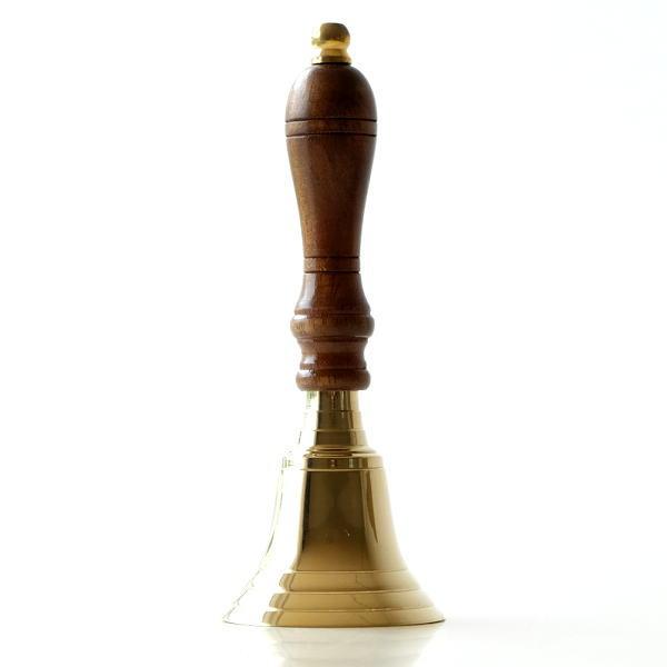 ハンドベル 呼び鈴 コールベル カウンターベル 卓上ベル 真鍮 木製 呼び出し 玄関 エントランス ブラスハンドベル [ebn1235]