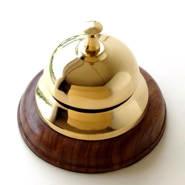 卓上ベル コールベル カウンターベル 呼び鈴 真鍮 木製 呼び出し 玄関 エントランス ブラスフロントベル [ebn1255]