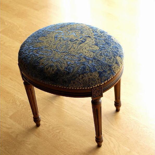 スツール アンティーク クラシック おしゃれ 椅子 布張り 木製 エレガントなオーバルスツール ブルー 【送料無料】 [ebn1599]