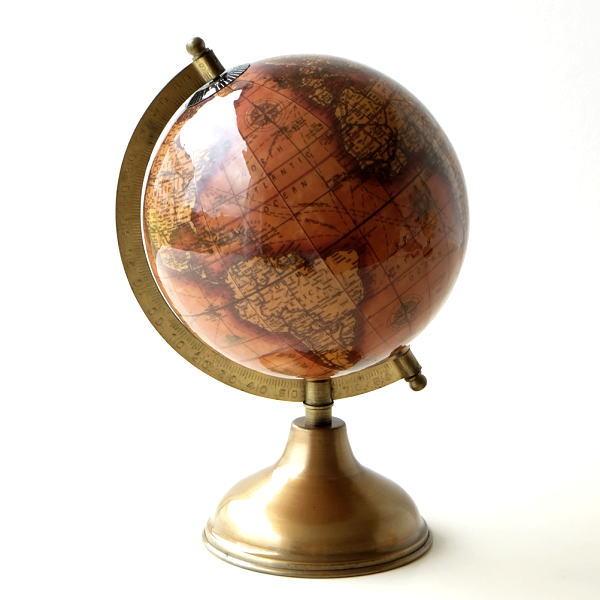 地球儀 インテリア アンティーク 置物 オブジェ 真鍮 レトロなブラス地球儀 B [ebn2050]