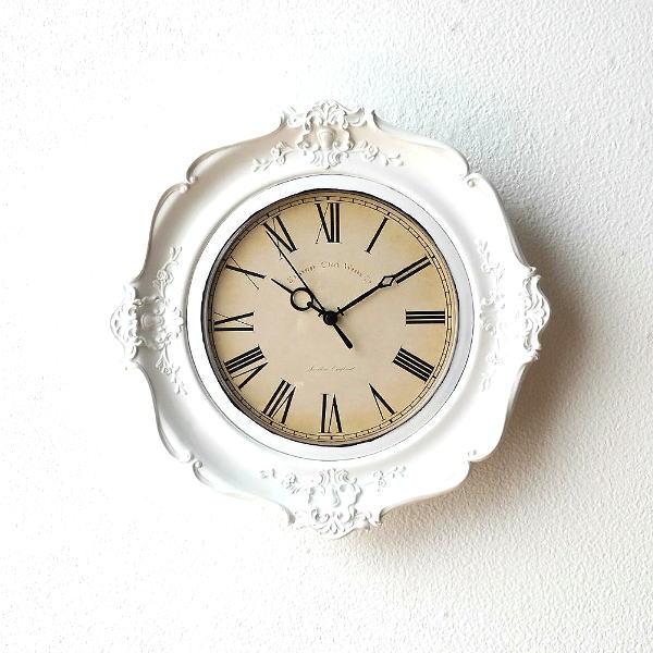 壁掛け時計 時計 おしゃれ かわいい 壁掛時計 レトロ クラシック 掛け時計 エレガント 掛時計 ヨーロピアン クラシックな掛時計 ホワイト [ebn2506]