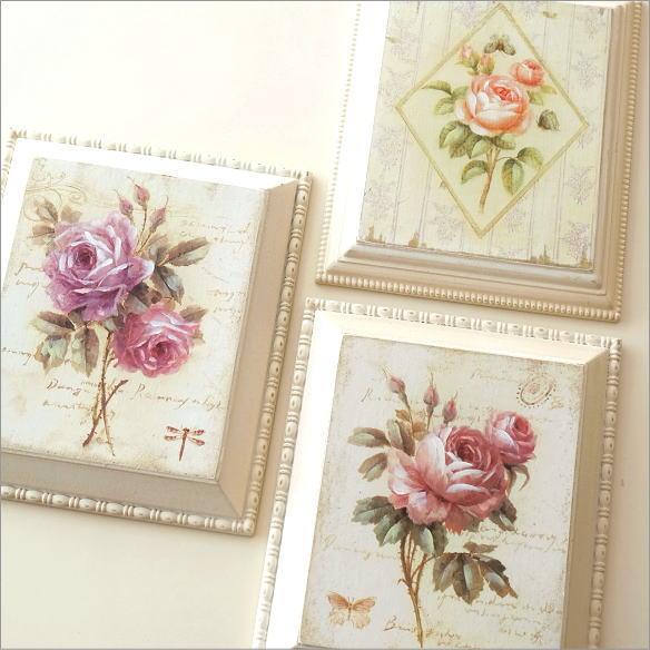 アートパネル 壁飾り アンティーク ローズ バラ 薔薇 壁掛け インテリア 壁面 飾り ウォールパネル おしゃれ かわいい アンティークなローズパネル3タイプ