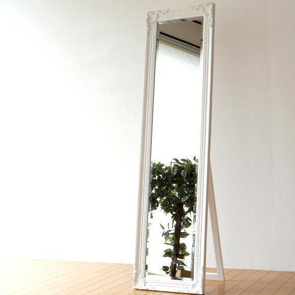 姿見鏡 おしゃれ 全身鏡 全身ミラー アンティークホワイトのスタンドミラ