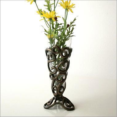花瓶 おしゃれ フラワーベース アンティーク レトロ 花器 花入れ デザイン アイアンとガラスのベース A