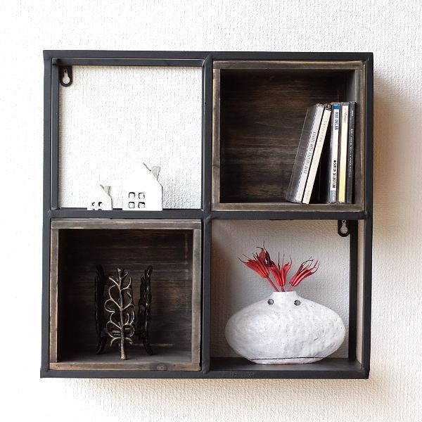 ウォールシェルフ アイアン 木製 ボックス おしゃれ アンティーク 棚 壁掛け 収納 シェルフ 飾り棚 ウォールラック アイアンウォールシェルフ スクエアボックス [ebn4740]