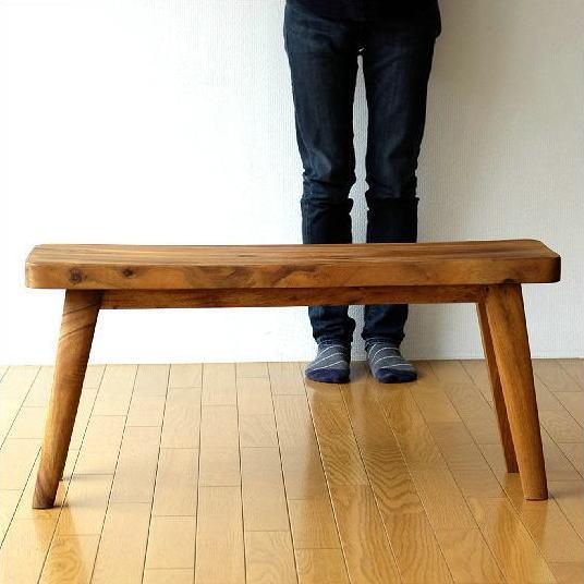 木製ベンチ 長椅子 背もたれなし リビング インテリア デザイン 無垢材 シンプル おしゃれ ウッドベンチ カーブ 【送料無料】 [ebn4760]
