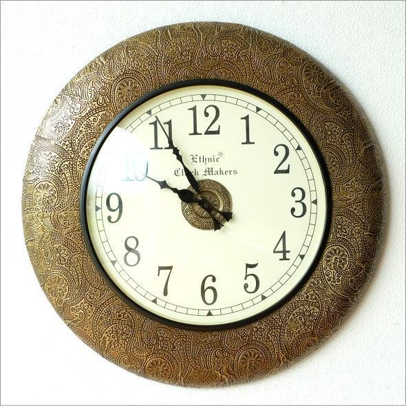 掛け時計 おしゃれ アンティーク レトロ 真鍮飾りのウォールクロック【送料無料】