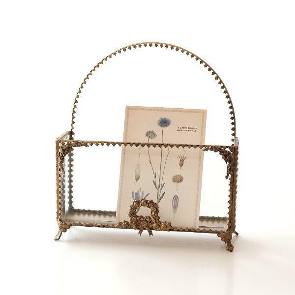 レターラック レターボックス おしゃれ かわいい レターホルダー ガラス レトロ 収納 真鍮 手紙入れ 真鍮とガラスのレターラック [ebn4829]