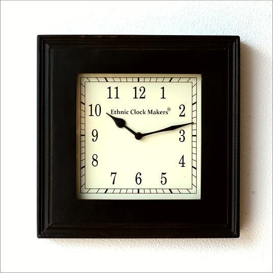 掛け時計 アナログ インテリア ウォールクロック 北欧 モダン 和風 デザイン 木製 ウッドスクエアクロック B
