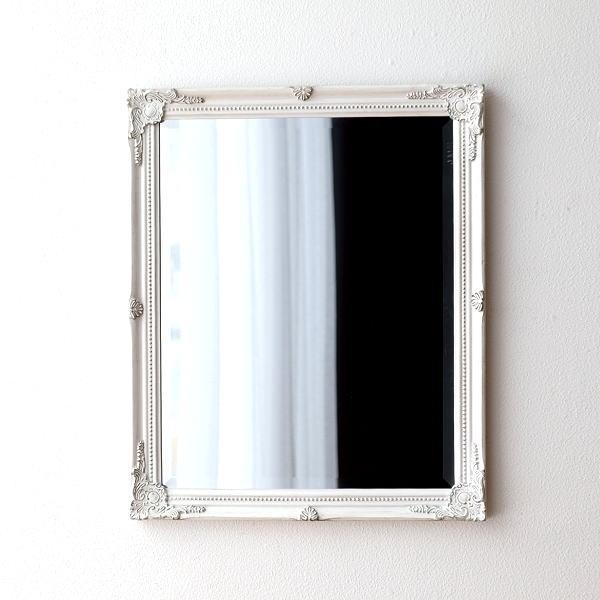 ウォールミラー ホワイト 白 壁掛けミラー 鏡 壁掛け アンティーク エレガント ヨーロピアン クラシックなウォールミラーWH【送料無料】