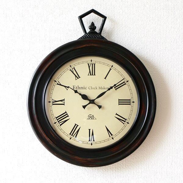 掛け時計 壁掛け時計 アンティーク 木製 おしゃれ レトロ クラシック アナログ ウォールクロック E 【送料無料】 [ebn5526]